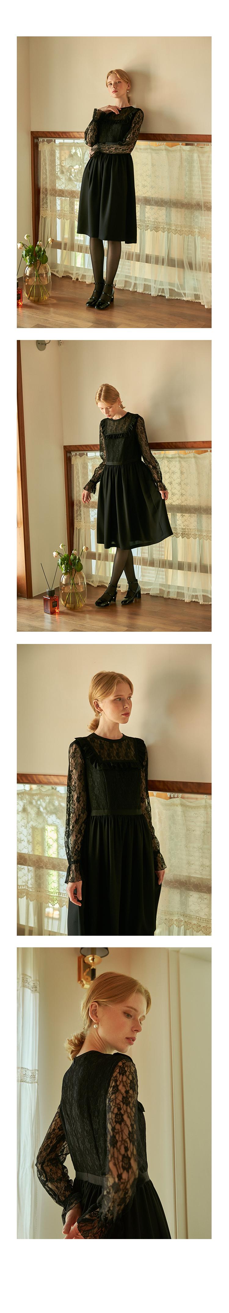 뎁(DEBB) [DEBB Signature][DACMA4006M] 레이스 블랙 드레스